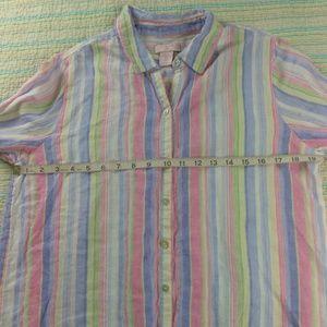 75dfff535 St. Tropez Tops | St Tropez West M Blue Pink Striped Linen Tunic ...